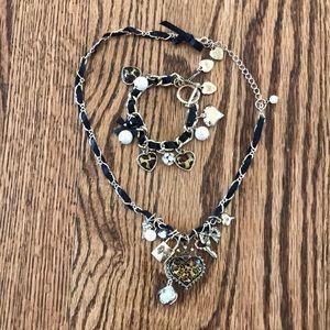Leopard heart bracelet and necklace set